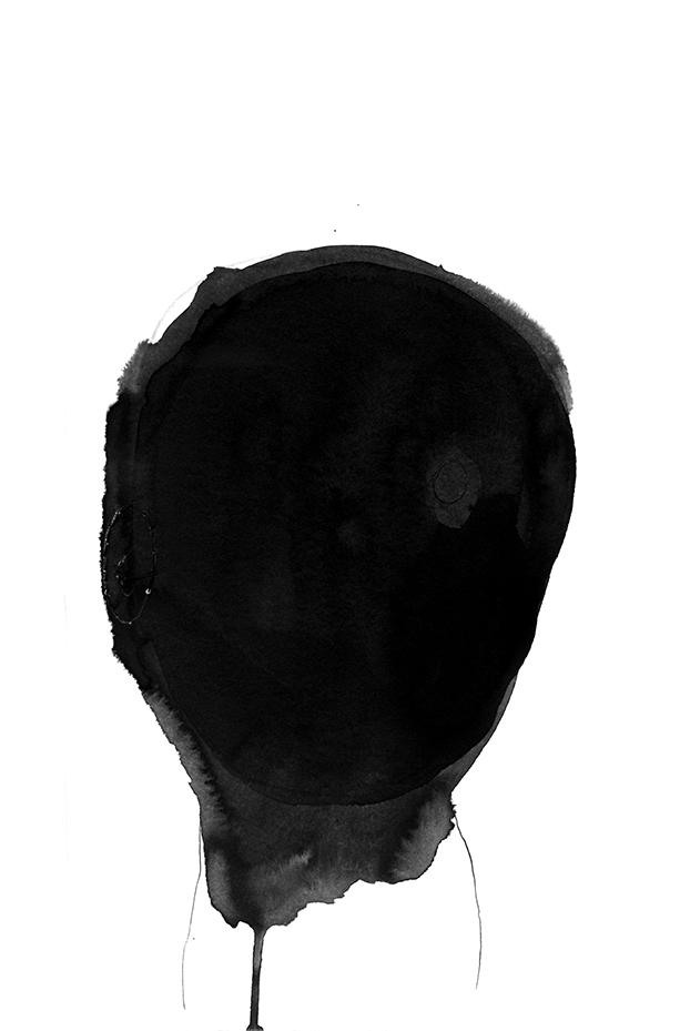 Nicole Panneton - Autoportrait aux rayons X no 57 - Série Le non-visible - Dessin - Encre, graphite et points de couture - 2012