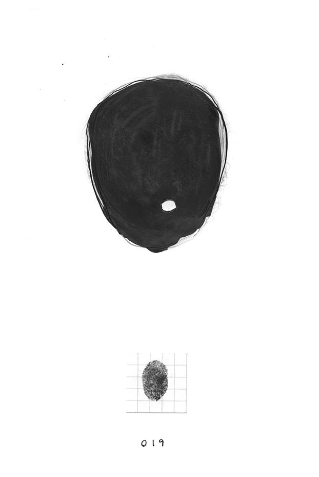 Nicole Panneton - Dessin no 19 - Série Identité - Autoportrait - Dessin et collage - Encre et graphite - 2013