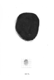 Nicole Panneton - Dessin no 2 - Série Identité - Autoportrait - Dessin et collage - Encre et graphite - 2013