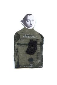 Nicole Panneton - Désir - Série L'inconnue - No 10 - Collage, encre sur papier et fil crocheté - 2014