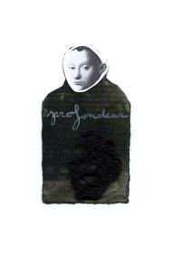 Nicole Panneton - Profondeur - Série L'inconnue - No 10 - Collage, encre sur papier et fil crocheté - 2014