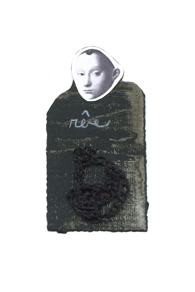 Nicole Panneton - Rêve - Série L'inconnue - No 10 - Collage, encre sur papier et fil crocheté - 2014