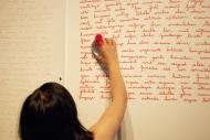 Nicole Panneton _ Le Fil continu - Performance - Projet Des mailles et des mots - Action Art Actuel - 2015 - Crédit photographique Julie Laurin