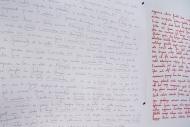 Nicole Panneton - Espace intime - Liste de phrases et mots (détail) - Projet Des mailles et des mots - 2015 - Crédit photographique Michel Dubreuil
